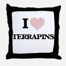 I love Terrapins (Heart Made from Wor Throw Pillow