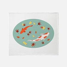 Japanese Koi Pond Throw Blanket