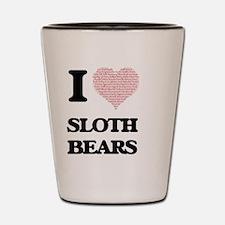 I love Sloth Bears (Heart Made from Wor Shot Glass