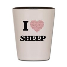 I love Sheep (Heart Made from Words) Shot Glass
