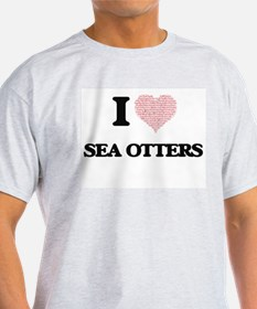 I love Sea Otters (Heart Made from Words) T-Shirt