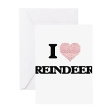 I love Reindeer (Heart Made from Wo Greeting Cards