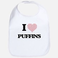 I love Puffins (Heart Made from Words) Bib