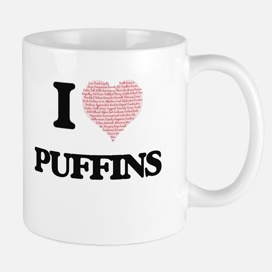 I love Puffins (Heart Made from Words) Mugs