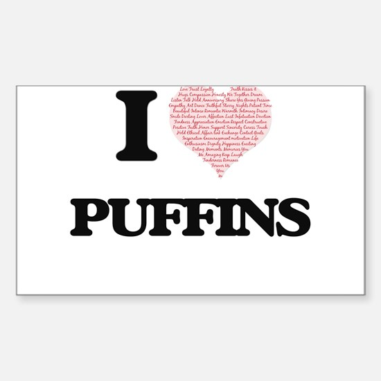 I love Puffins (Heart Made from Words) Decal