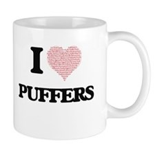 I love Puffers (Heart Made from Words) Mugs