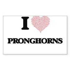 I love Pronghorns (Heart Made from Words) Decal