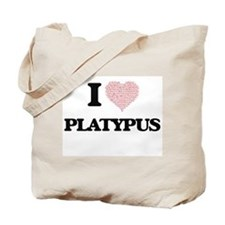 I love Platypus (Heart Made from Words) Tote Bag