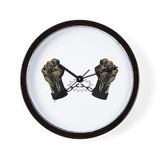 Black Fists Wall Clock