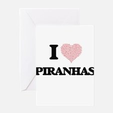 I love Piranhas (Heart Made from Wo Greeting Cards