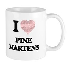 I love Pine Martens (Heart Made from Words) Mugs