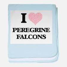 I love Peregrine Falcons (Heart Made baby blanket