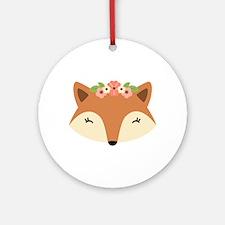 Fox Head Round Ornament