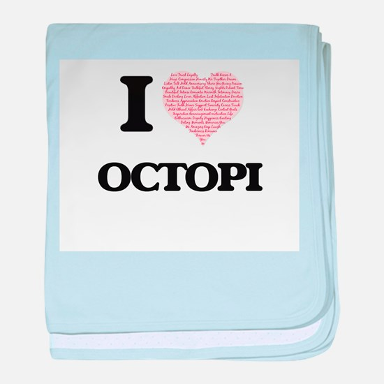 I love Octopi (Heart Made from Words) baby blanket