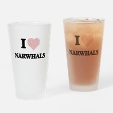 I love Narwhals (Heart Made from Wo Drinking Glass