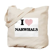 I love Narwhals (Heart Made from Words) Tote Bag