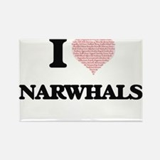 I love Narwhals (Heart Made from Words) Magnets