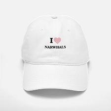 I love Narwhals (Heart Made from Words) Baseball Baseball Cap