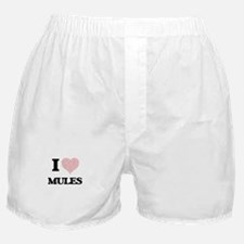 I love Mules (Heart Made from Words) Boxer Shorts