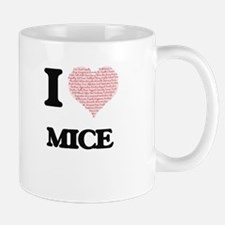 I love Mice (Heart Made from Words) Mugs