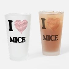I love Mice (Heart Made from Words) Drinking Glass