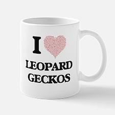 I love Leopard Geckos (Heart Made from Words) Mugs