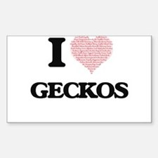 I love Geckos (Heart Made from Words) Decal