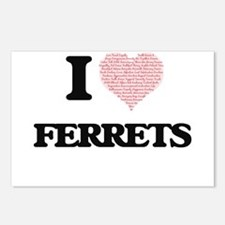 I love Ferrets (Heart Mad Postcards (Package of 8)