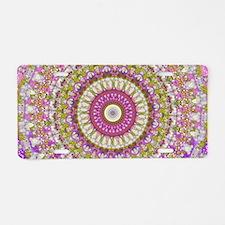 Pretty Hippy pink mandala Aluminum License Plate