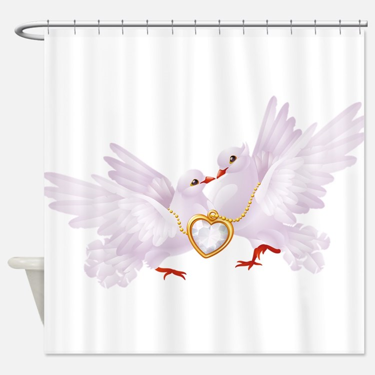 Love doves necklace Shower Curtain
