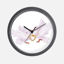 Love doves necklace Wall Clock