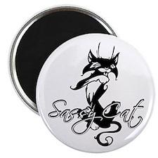 """Black Sassy Cat 2.25"""" Magnet (10 pack)"""