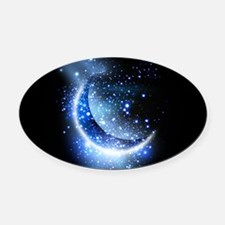 Awesome moon and stars Oval Car Magnet
