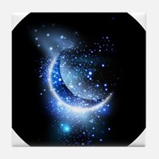 Awesome moon and stars Tile Coaster