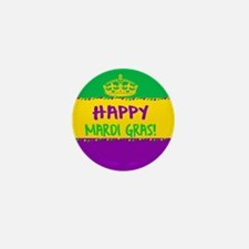 Happy Mardi Gras Crown and Beads Mini Button