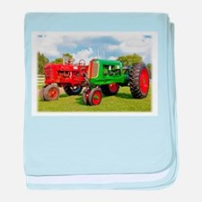 Vintage tractors red and green baby blanket