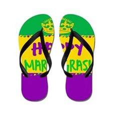 Happy Mardi Gras Crown and Beads Flip Flops