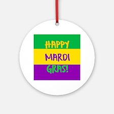 Happy Mardi Gras purple green gold Round Ornament