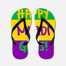 Happy Mardi Gras purple green gold Flip Flops