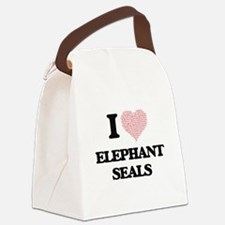 I love Elephant Seals (Heart Made Canvas Lunch Bag