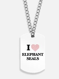 I love Elephant Seals (Heart Made from Wo Dog Tags