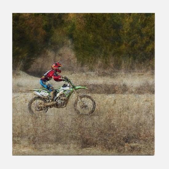 Dirt Bike Riding Tile Coaster