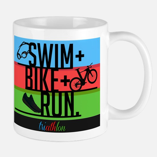 Swim, Bike, Run. Mugs