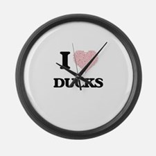I love Ducks (Heart Made from Wor Large Wall Clock