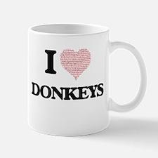 I love Donkeys (Heart Made from Words) Mugs