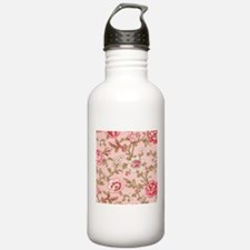 ROSE PRINT ON PINK FABRIC SHABBY CHIC Water Bottle