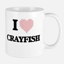 I love Crayfish (Heart Made from Words) Mugs