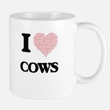 I love Cows (Heart Made from Words) Mugs