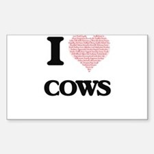 I love Cows (Heart Made from Words) Decal