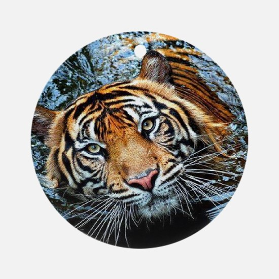 Tiger in Water Round Ornament